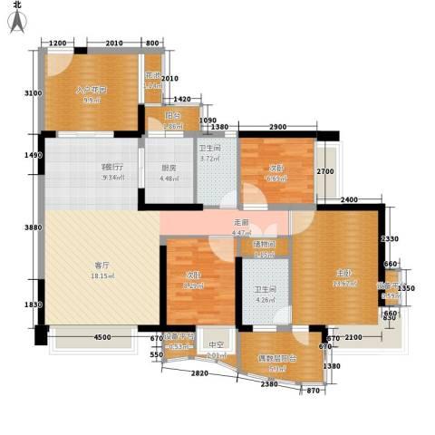 御景湾3室1厅2卫1厨138.00㎡户型图