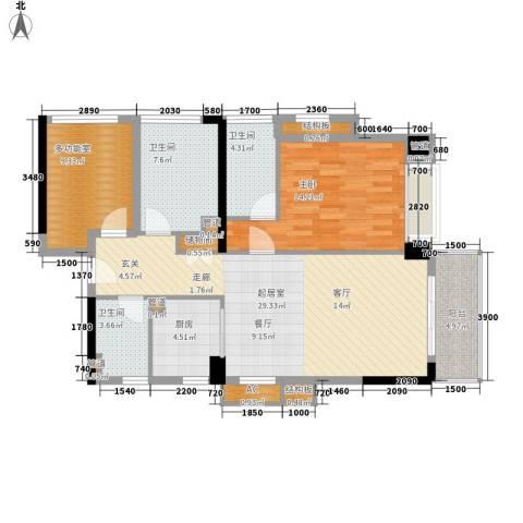 万科虹溪诺雅樱花湖1室0厅3卫1厨117.00㎡户型图