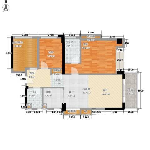 万科虹溪诺雅樱花湖2室0厅2卫1厨113.00㎡户型图