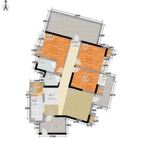 新港国际花园3室1厅2卫1厨123.48㎡户型图
