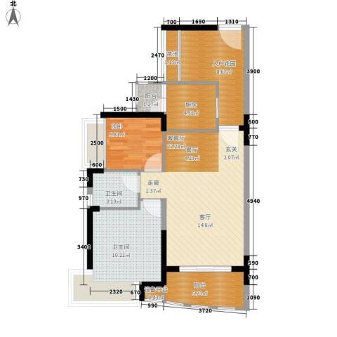 御景湾1室1厅2卫1厨90.00㎡户型图