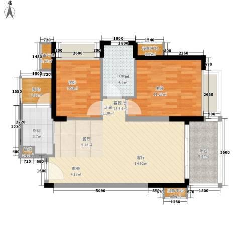 半岛城邦二期2室1厅1卫1厨86.00㎡户型图