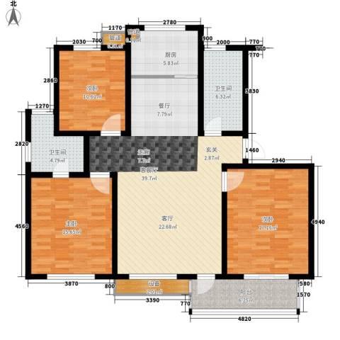 金圆・上都3室1厅2卫1厨115.00㎡户型图