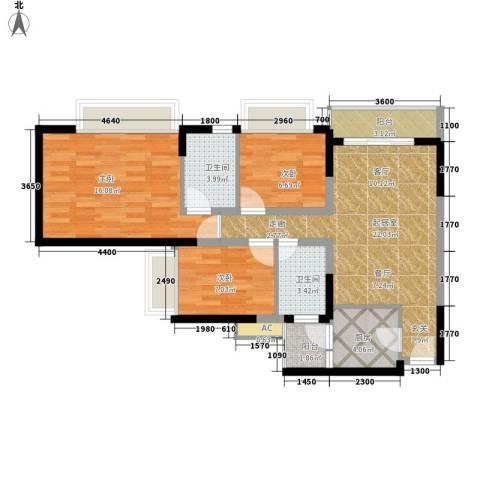 华侨新苑3室0厅2卫1厨95.00㎡户型图