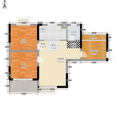 华银天际二期2室0厅1卫1厨84.00㎡户型图