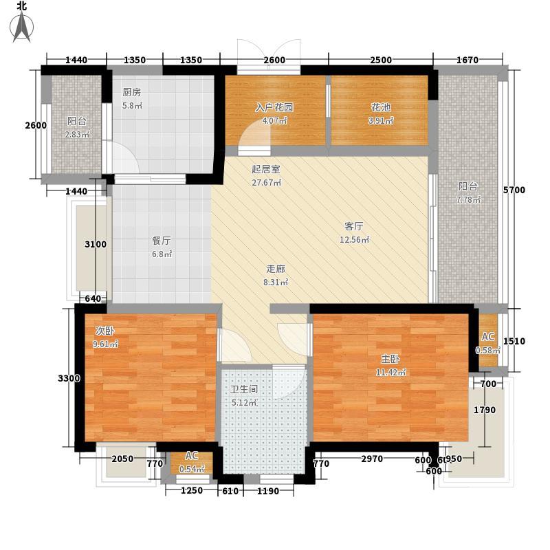 新鸿基悦城99.00㎡二期E户型2室2厅1卫1厨