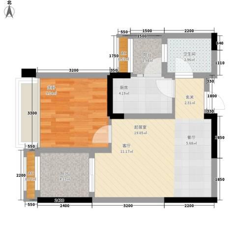 泽胜依山郦景1室0厅1卫1厨55.00㎡户型图