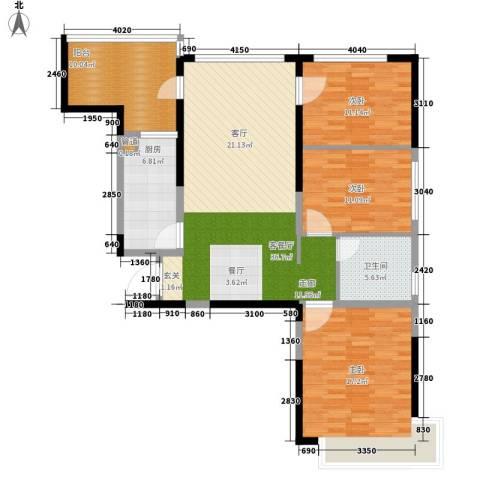 南昌恒大名都3室1厅1卫1厨111.00㎡户型图