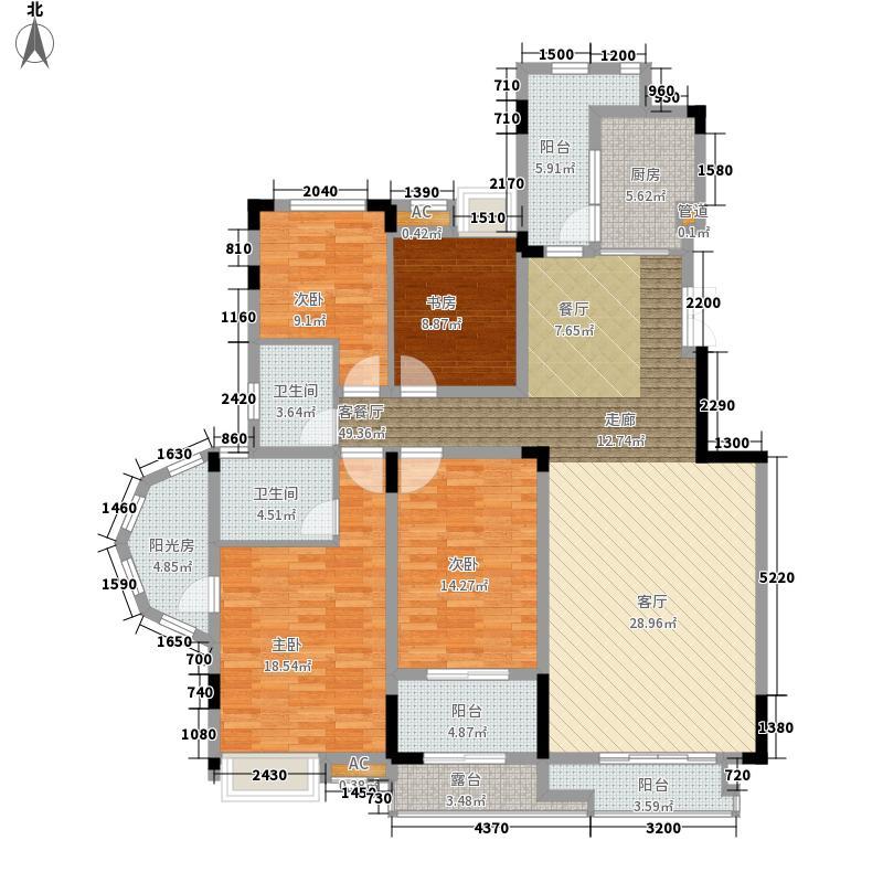 保利山庄141.16㎡一期D2栋标准层户型