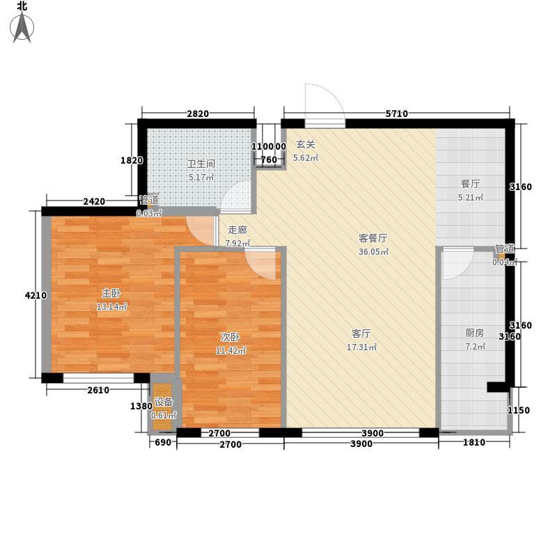 天鸿嘉园101.00㎡1#2#楼户型2室1厅1卫1厨