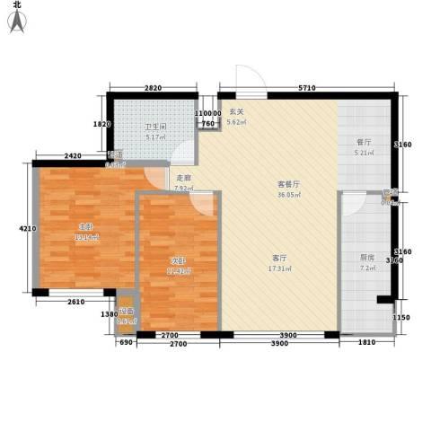 天鸿嘉园2室1厅1卫1厨101.00㎡户型图