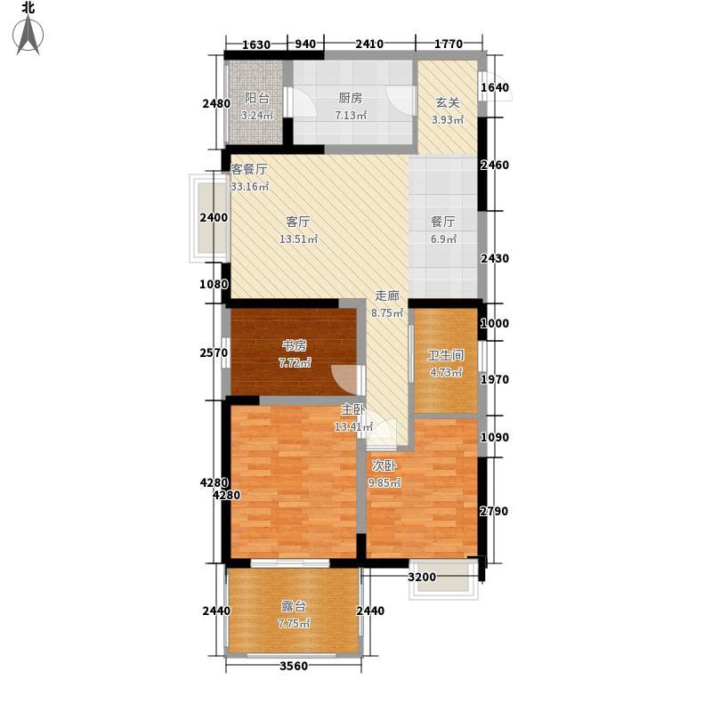 边城世家99.00㎡一期标准层B户型3室2厅1卫1厨