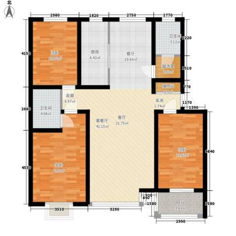 世纪嘉园3室1厅2卫1厨144.00㎡户型图