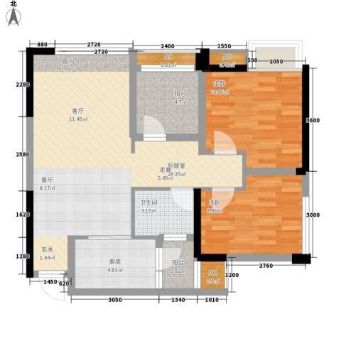 泽胜依山郦景2室0厅1卫1厨78.00㎡户型图