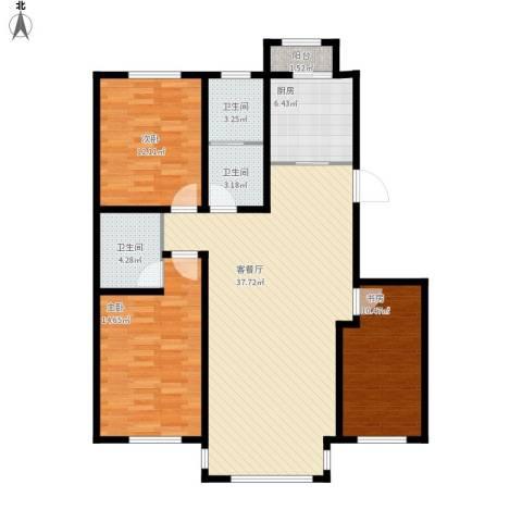 英伦小镇3室1厅3卫1厨131.00㎡户型图