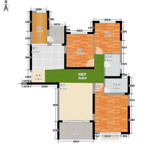 南昌恒大名都3室1厅2卫1厨134.00㎡户型图