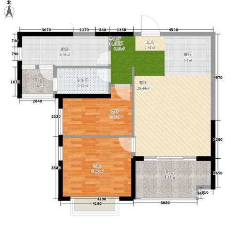 南昌恒大名都2室1厅1卫1厨91.00㎡户型图