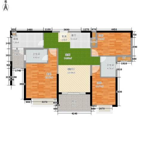 南昌恒大名都3室1厅2卫1厨124.00㎡户型图