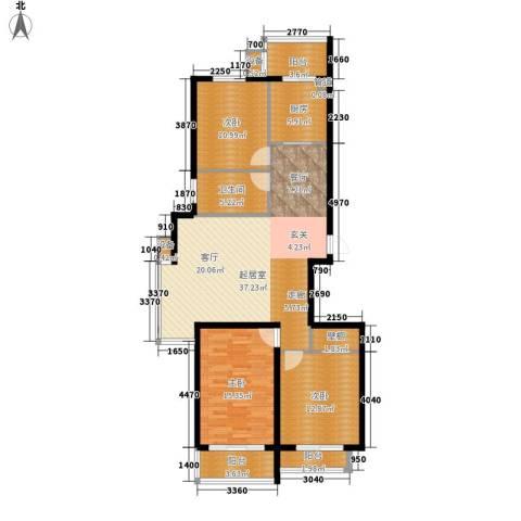 湖岸新城3室0厅1卫1厨112.00㎡户型图