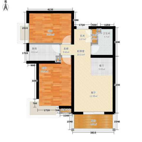 双清别院2室0厅1卫1厨89.00㎡户型图