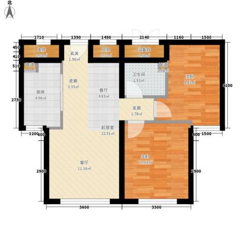 祥泰香榭花堤2室0厅1卫1厨63.51㎡户型图