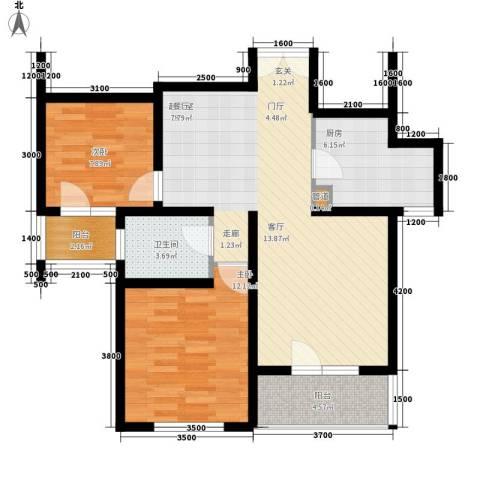 朗诗南门绿郡2室0厅1卫1厨88.00㎡户型图