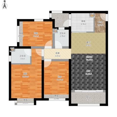 凤城国贸3室0厅2卫1厨124.00㎡户型图