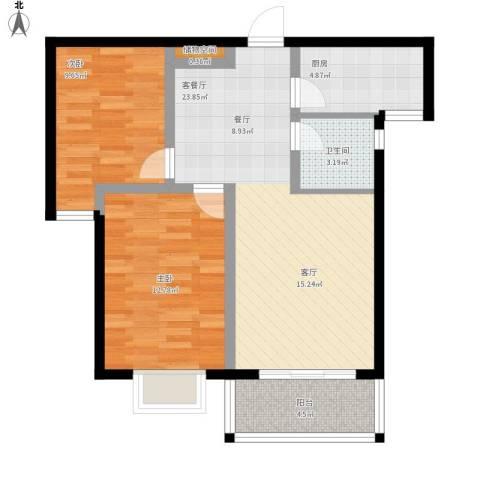 玉泉华庭2室1厅1卫1厨86.00㎡户型图