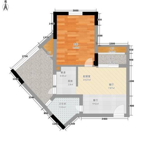 幸福大街1室0厅1卫0厨51.00㎡户型图