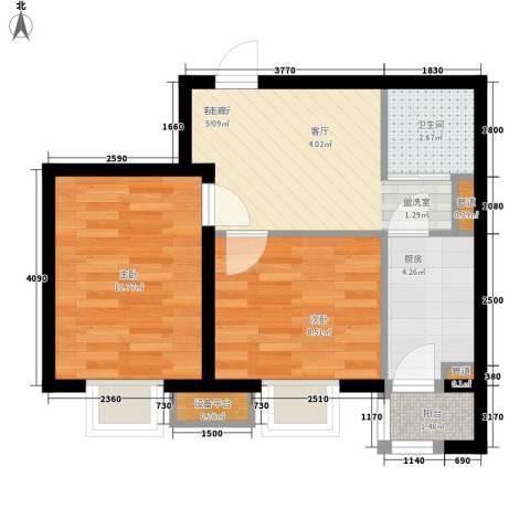 新希望家园2室1厅1卫1厨68.00㎡户型图