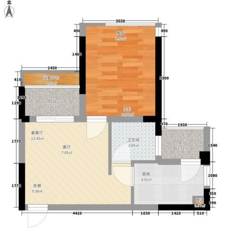 新彼岸1室1厅1卫1厨46.00㎡户型图