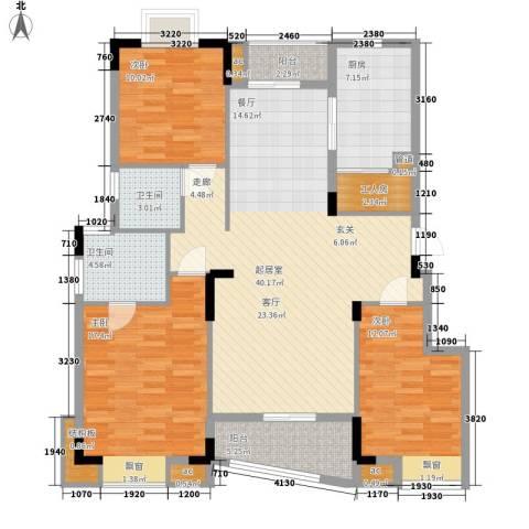 阳光澳园3室0厅2卫1厨121.00㎡户型图
