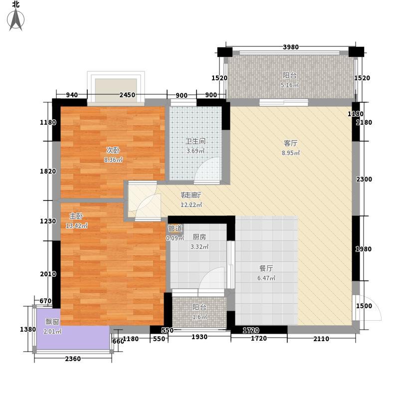 新彼岸78.00㎡新彼岸户型图4-6栋标准层01、04户型2室2厅1卫1厨户型2室2厅1卫1厨