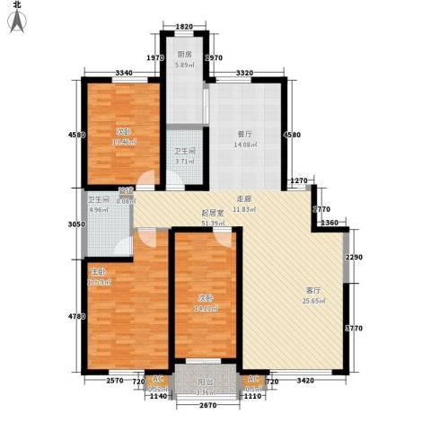 兴园小区3室0厅2卫1厨130.00㎡户型图
