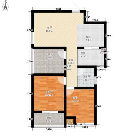 兴园小区2室0厅1卫1厨77.00㎡户型图