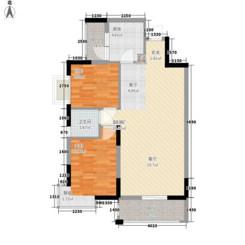 新彼岸2室1厅1卫1厨84.00㎡户型图
