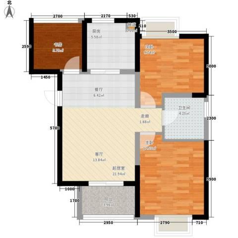 兴园小区3室0厅1卫1厨63.91㎡户型图