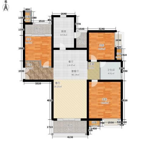 大观天下3室1厅1卫1厨118.00㎡户型图