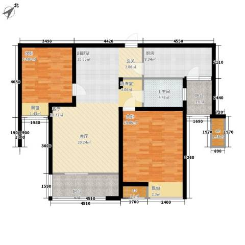 鲁商常春藤荷花园2室0厅1卫1厨105.00㎡户型图