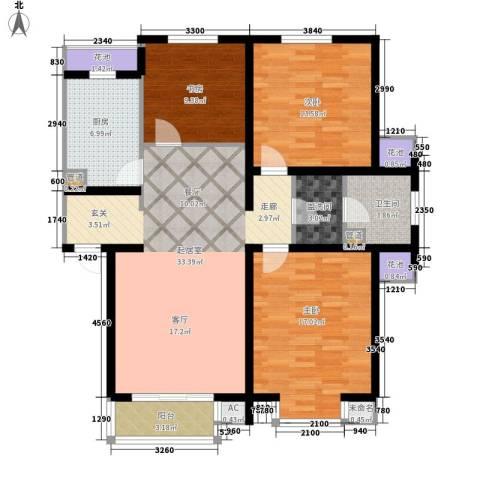 在水一方3室0厅1卫1厨117.00㎡户型图