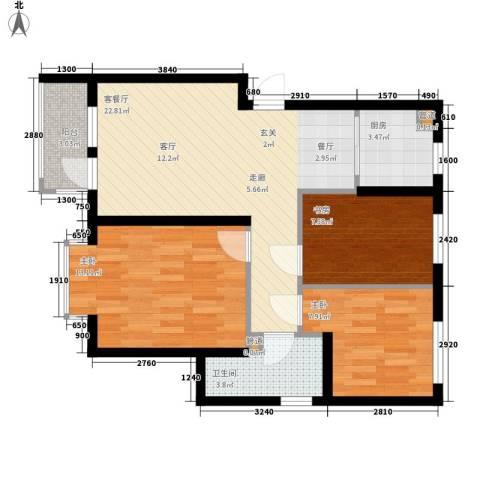 新希望家园3室1厅1卫1厨97.00㎡户型图