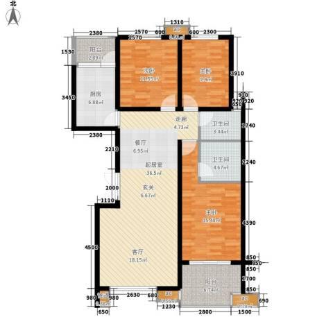 香樟雅郡3室0厅2卫1厨130.00㎡户型图