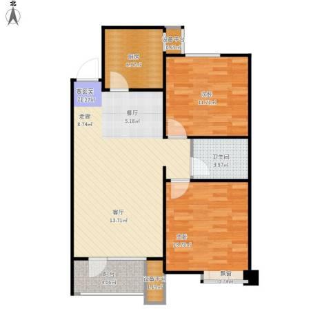 康城·瑞河兰乔2室1厅1卫1厨95.00㎡户型图