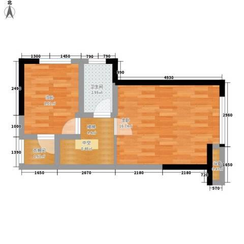 金辉融侨半岛香弥山1号2室0厅1卫0厨51.00㎡户型图