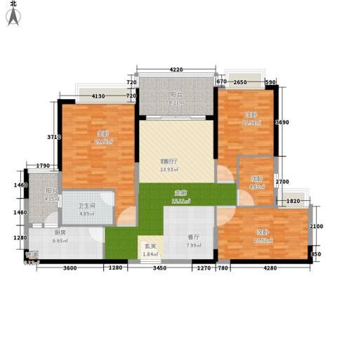 南昌恒大名都4室1厅1卫1厨122.00㎡户型图