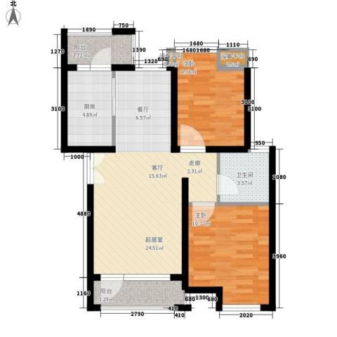 伊顿国际2室0厅1卫1厨68.14㎡户型图