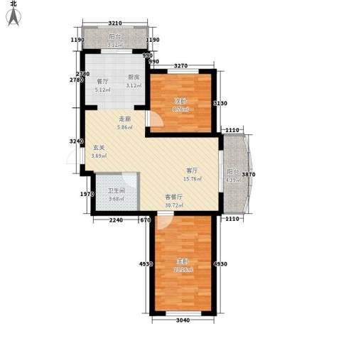 东城花园2室1厅1卫0厨72.91㎡户型图