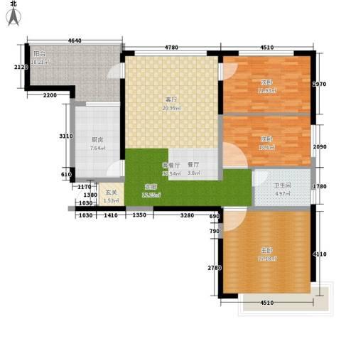 南昌恒大名都3室1厅1卫1厨112.00㎡户型图
