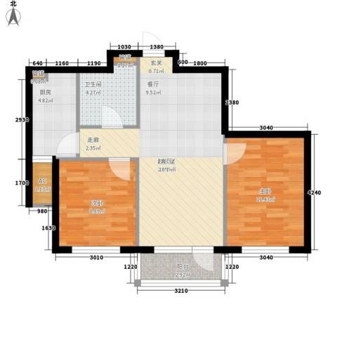 美辰香醒2室0厅1卫1厨78.00㎡户型图