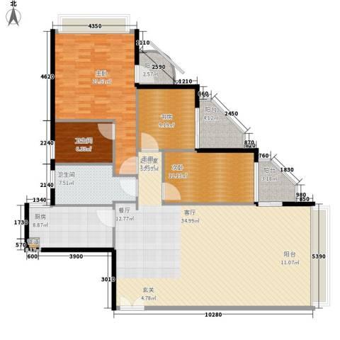 鸿业大厦3室0厅2卫1厨144.00㎡户型图